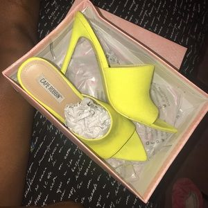 Neon Yellow Mules